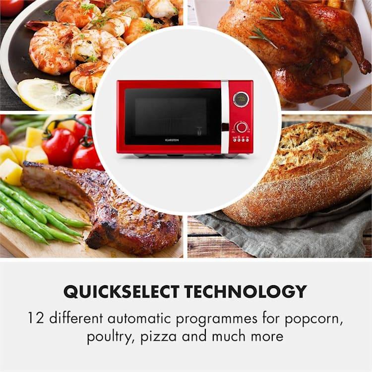 Klarstein Fine Dinesty, 1000 W, 23 l, 2 az 1-ben mikrohullámú sütő, retro, 12 program, piros Piros