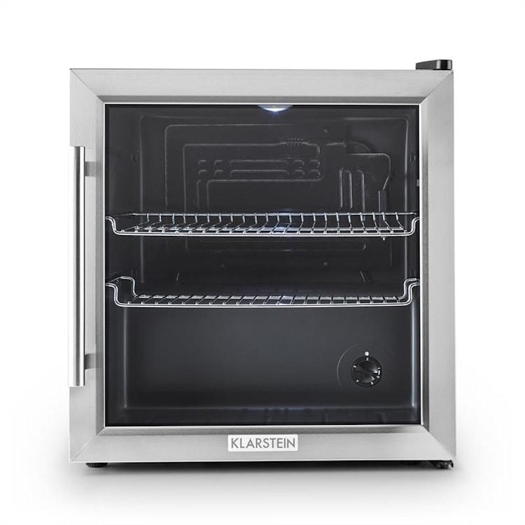 Klarstein Beersafe L, chladnička s objemem 50 l, energetická třída B, skleněné dveře, nerezová ocel Stříbrná   50 litrů