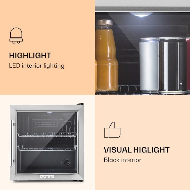 Klarstein Beersafe L, chladnička s objemom 50 litrov, energet. trieda B, sklenené dvere, nerezová oceľ Strieborná | 50 litrov