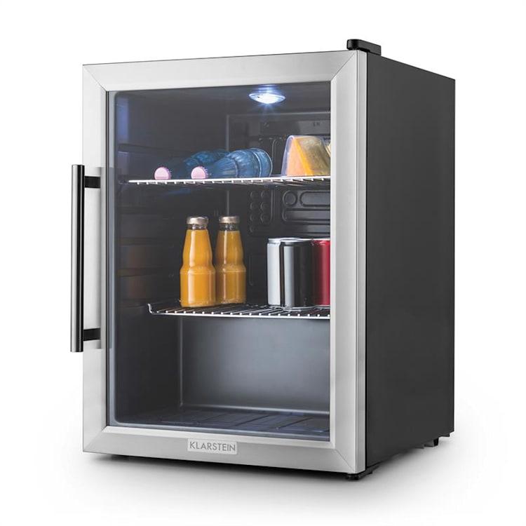 Klarstein Beersafe XL, chladnička s objemom 65 litrov, energet. trieda B, sklenené dvere, nerezová oceľ Strieborná | 60 litrov