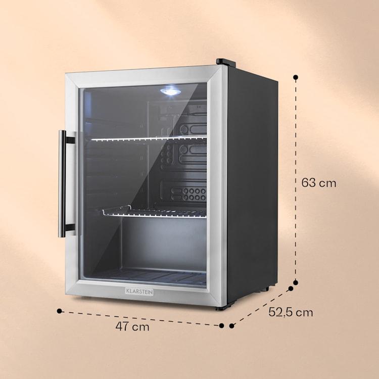 Beersafe XL Frigorífico 60 litros 2 prateleiras Porta de vidro panorâmica Aço inoxidável  Prateado   60 L