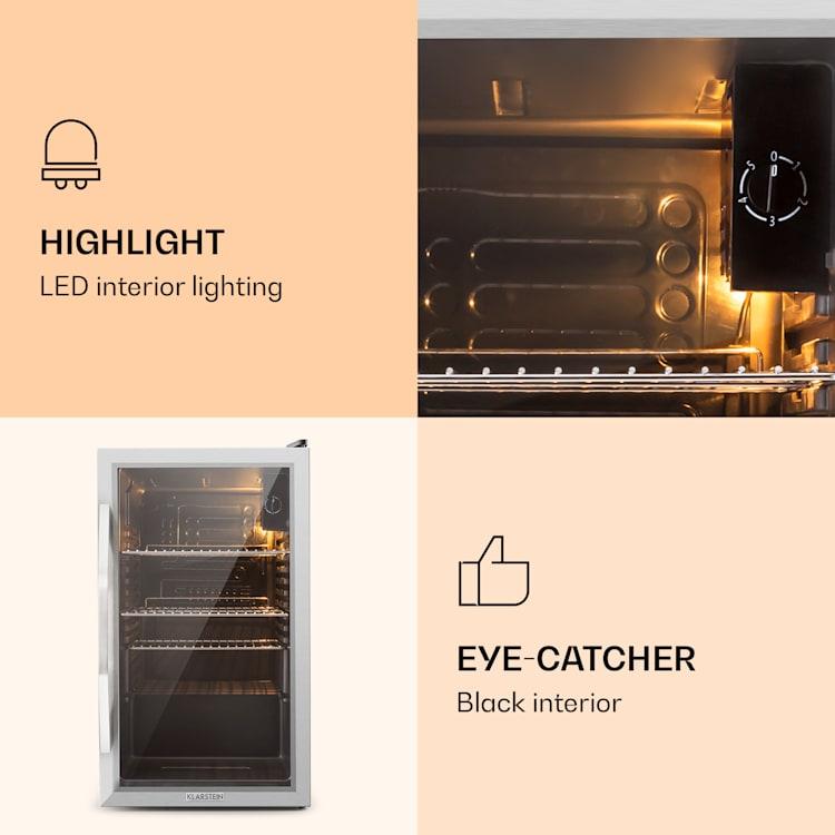 Beersafe XXL Réfrigérateur 80 litres 3 étagères Porte en verre panoramique Acier inoxydable  Argent | 80 L