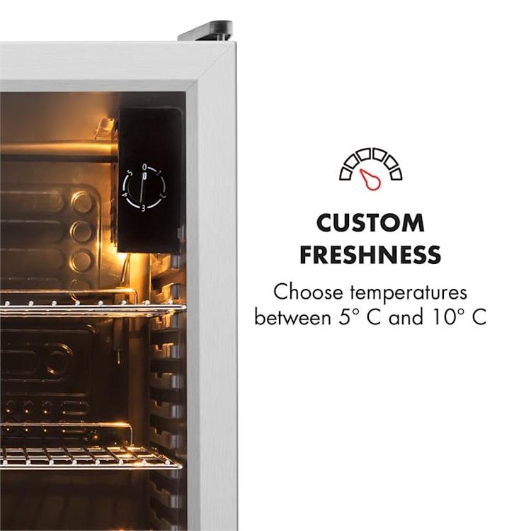 Klarstein Beersafe XXL, chladnička s objemem 85 l, energetická třída C, skleněné dveře, nerezová ocel Stříbrná | 80 litrů