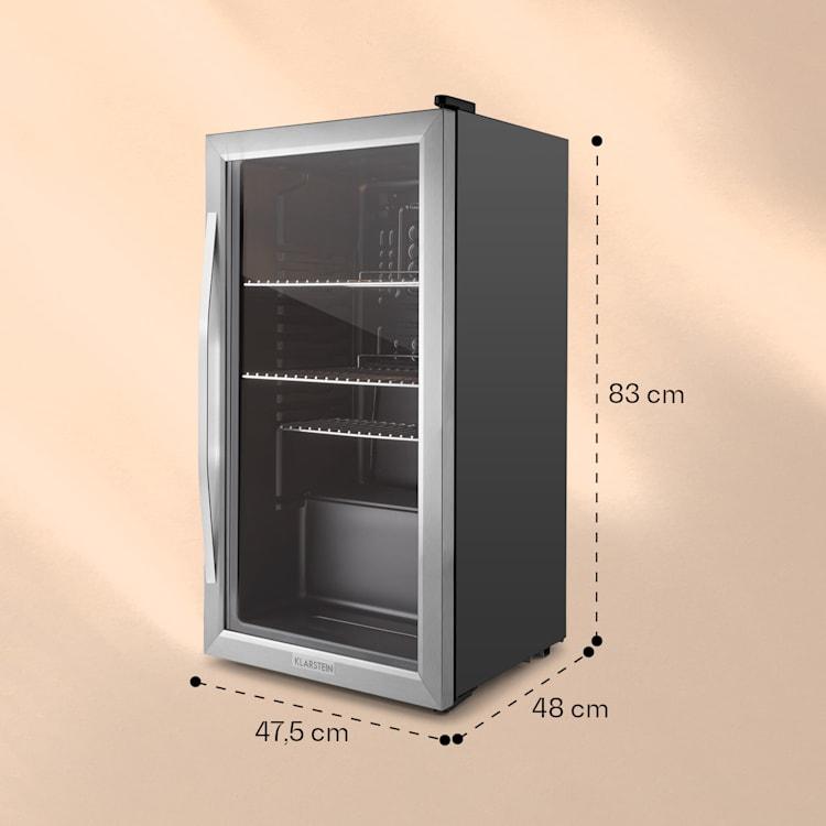 Beersafe XXL Kühlschrank 80 Liter 3 Böden Panoramaglastür Edelstahl  Silber | 80 Ltr