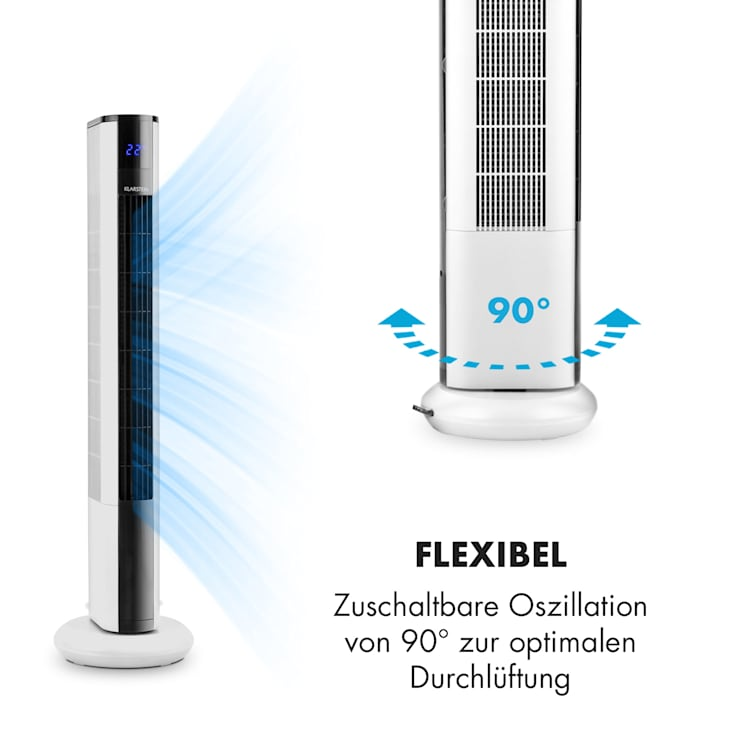 Skyscraper 3G Turmventilator 48W Luftdurchsatz 1.633 m³/h Touchpanel Fernbedienung weiß Weiß