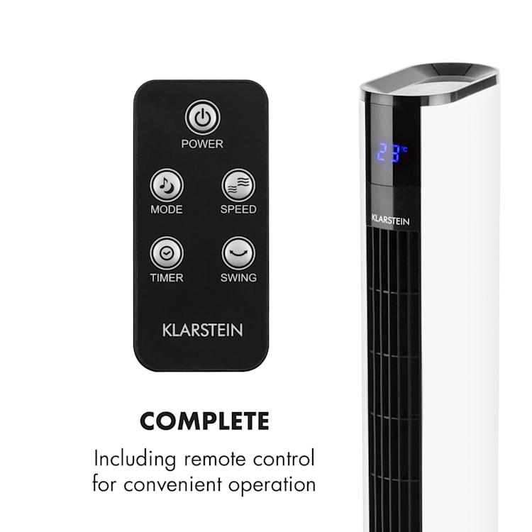 Klarstein Skyscraper 3G, 50 W, visoki ventilator s upravljanjem na dodir, daljinski upravljač, bijeli Bijela
