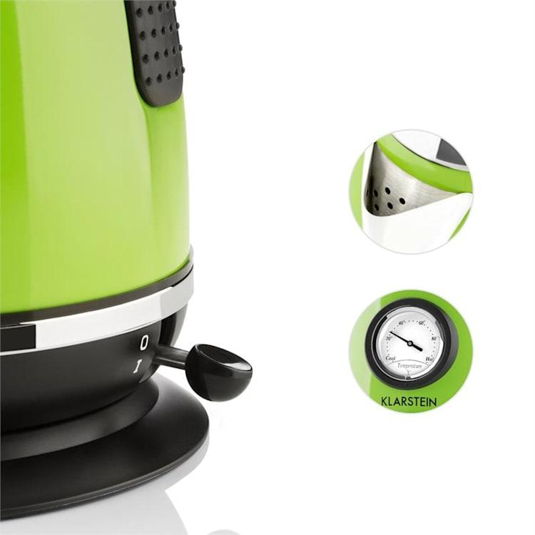 Klarstein TK7-AquavitachaletG, 2200W, zelená rýchlovarná kanvica z ušľachtilej ocele Zelená
