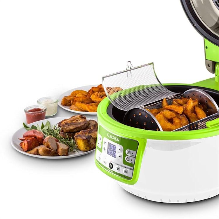 Klarstein VitAir Turbo, 1400W, 9 l, horkovzdušná fritéza, grilování, pečení, zeleno-bílá Zelená