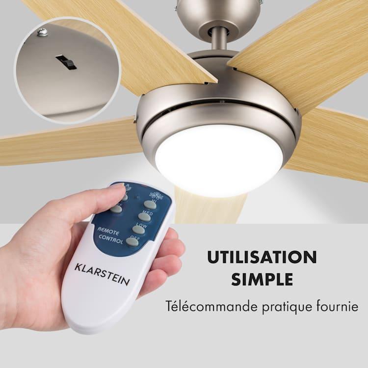 Bolero ventilateur de plafond 2-en-1 134 cm lampe 55 W pales érable télécommande Erable
