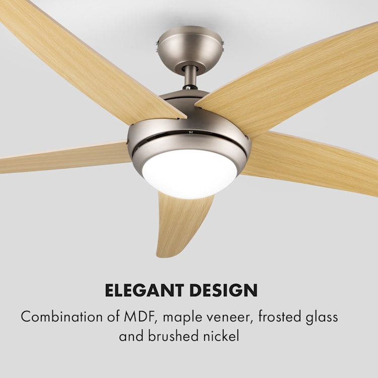 Klarstein Bolero, 55W, ventilator de tavan cu lampă, 134 cm, brațe din lemn de arțar, telecomandă Arțar