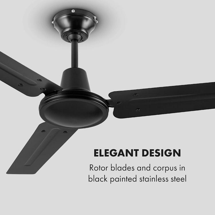Spin Doctor, stropný ventilátor, 55 W, 122 cm, 3 ramená, nehrdzavejúca oceľ, čierny Čierna