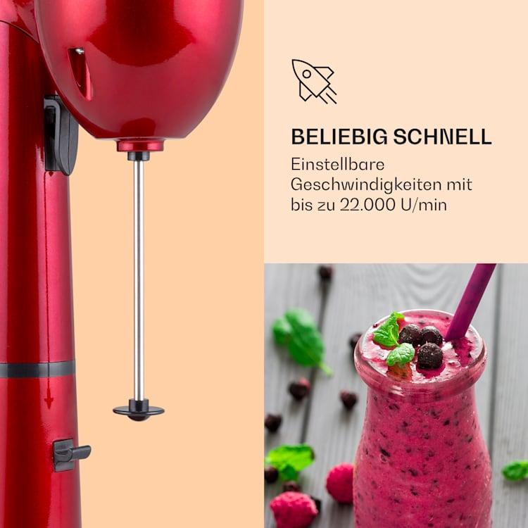 van Damme Drink-Mixer Shaker 100W 450 ml Edelstahl-Mixbecher Rot