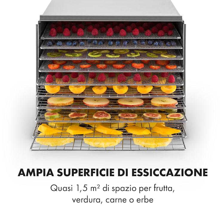 Fruit Jerky Steel 10 Essiccatore 1000W 10 Ripiani Acciaio Inox 10 scomparti