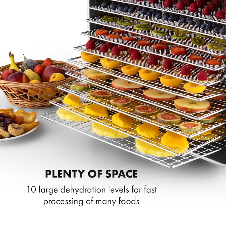 Fruit Jerky Steel 10, сушилня за плодове, 1000 W, сушилня, 10 етажа, от неръждаема стомана 10 нива