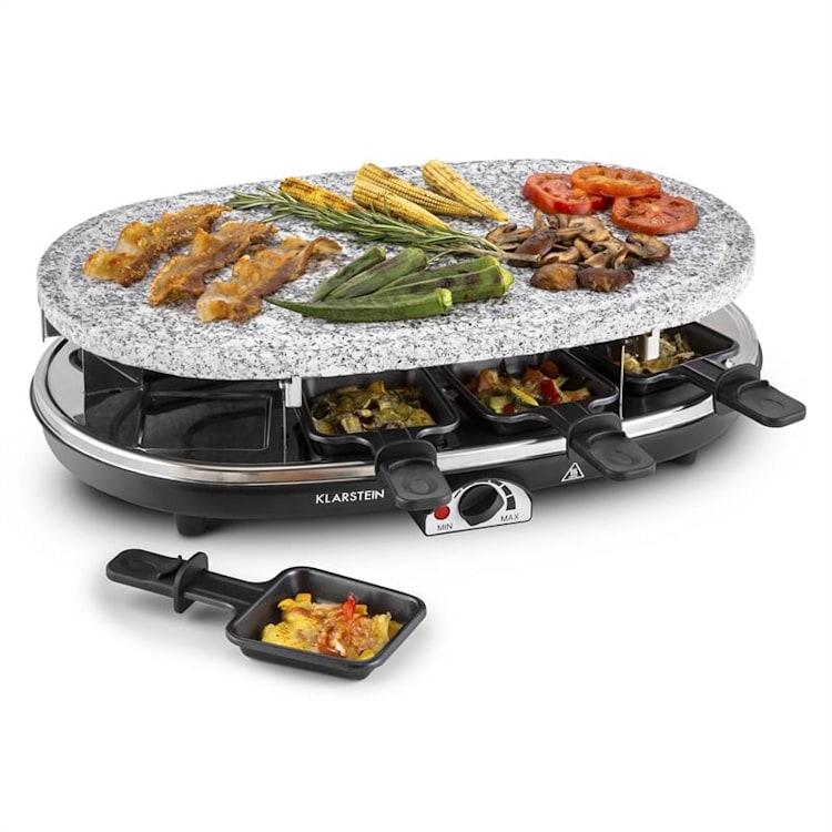Steaklette, 1500 W, raclette roštilj s granitnom pločom, za 8 osoba