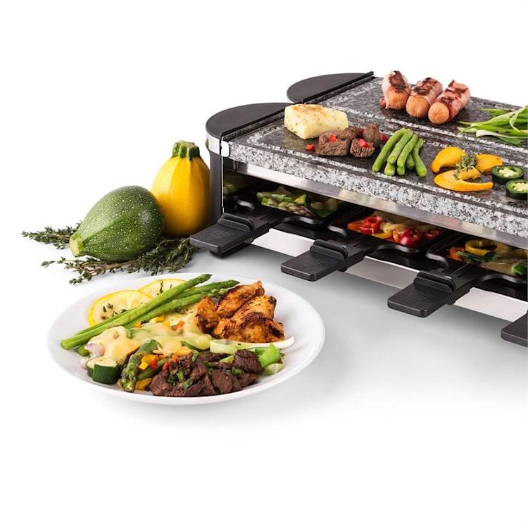 Tenderloin 100 Raclette-Grill | Leistung: 1200 W gesamt / 600 W je Balken | separater Betrieb beider Grillteile | 8 Personen | 2x Natursteinplatte Naturstein | 8 Raclette Pfännchen