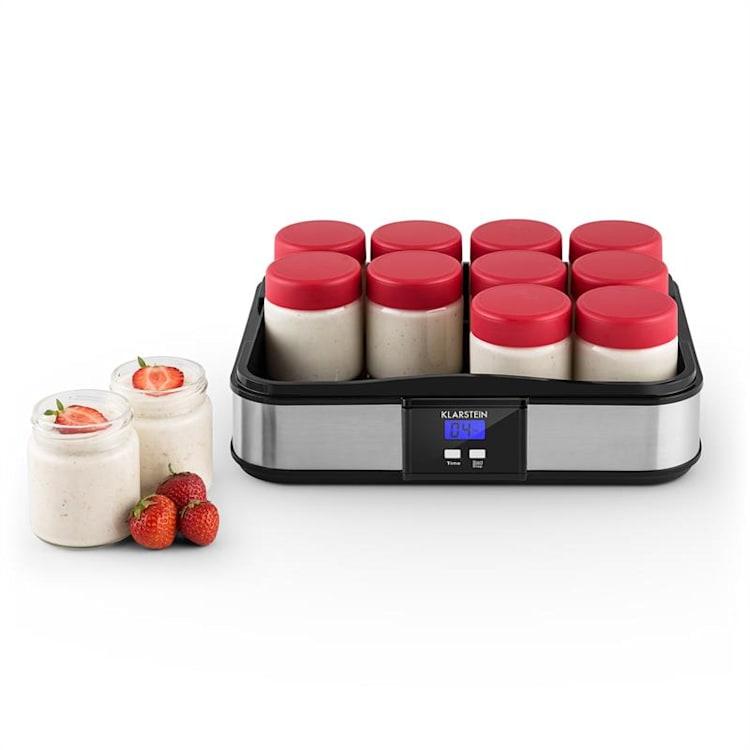 Gaia Joghurtmaker 12 Gläser a 150 ml Timer Edelstahl Schwarz