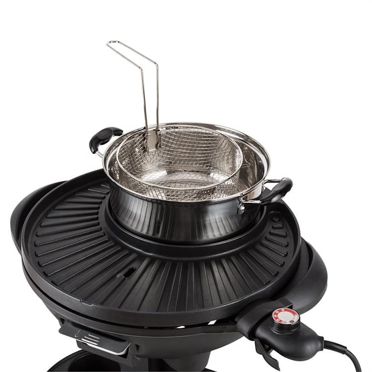Grillpot Electric Stand Grill w. Built in Fryer 40cm Cast Iron 1600w