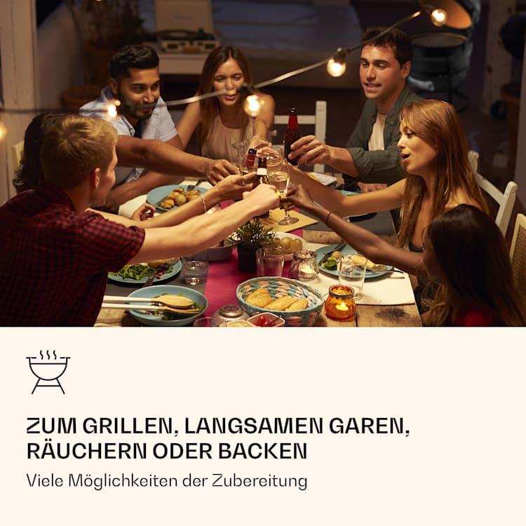 Princesize Kamado-Grill Keramikgrill Edelstahl-Grillrost Smoker BBQ schwarz Schwarz