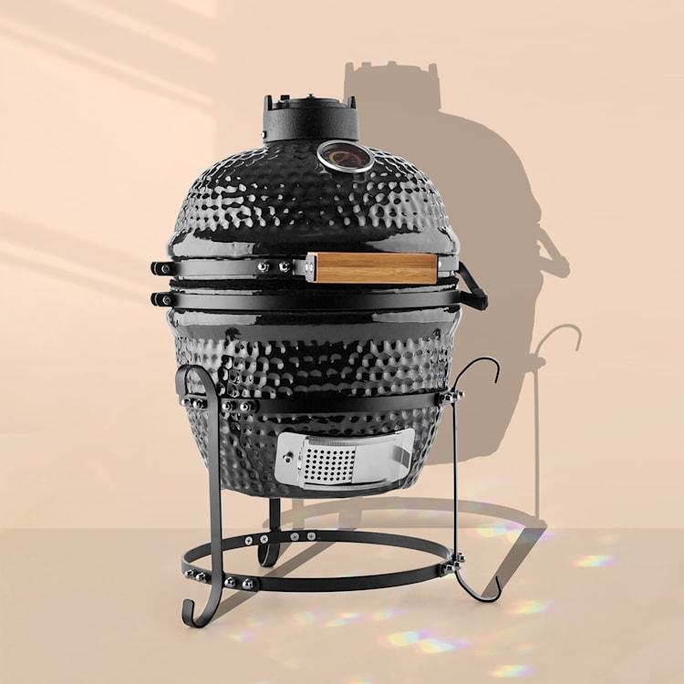 """Princesize Grill Kamado Grill ceramiczny 11"""" Wędzarnia BBQ czarny Czarny"""