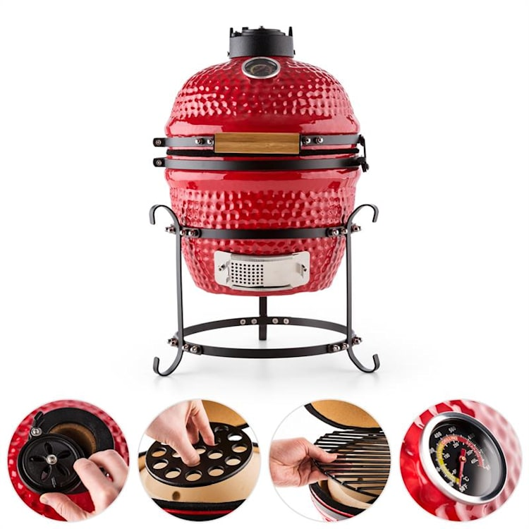 """Prince-sized Kamado Grill Ceramic Grill Oven 11"""" Smoker BBQ Slow Cooking red Red"""