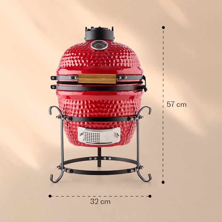 "Klarstein Kamado gratar ceramica Grill 11 ""fumător BBQ rosu Roșu"
