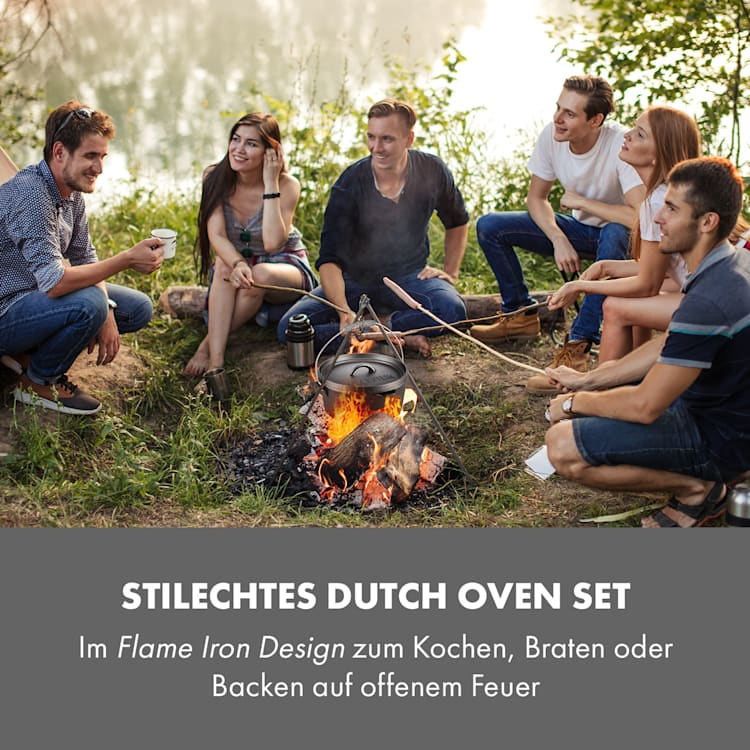 Hotrod Masterplan Dutch Oven Set 7-teilig BBQ Topfset Gusseisen