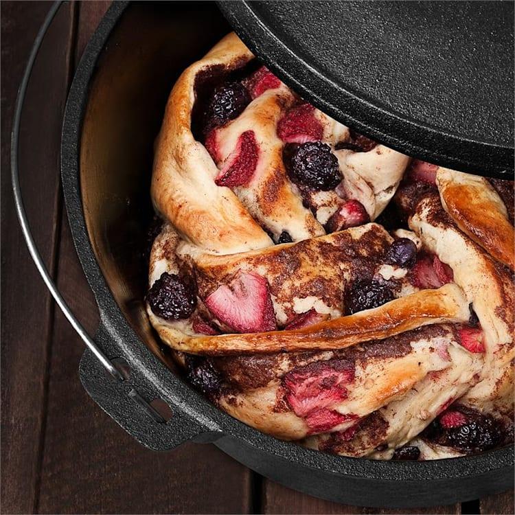 Klarstein Hotrod 145 öntöttvas fazék, barbecue fazék, 12 qt / 11,4 liter, öntöttvas, fekete 11,4 Ltr