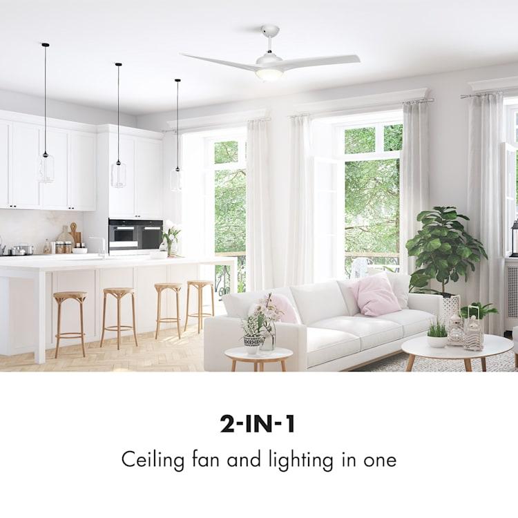 """Klarstein Figo, bílý, stropní ventilátor, 52 """", 55 W, stropní lampa, 2 x 42 W, dálkový ovladač Bílá"""