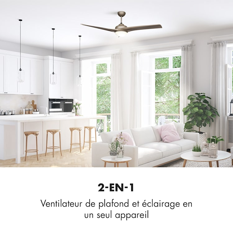 "Figo ventilateur de plafond 52"" 55 W plafonnier 2x42 W télécommande titane Titane"