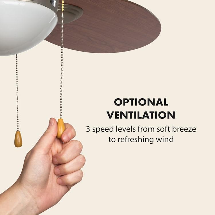 """Valderama, stropný ventilátor, 42"""", 60 W, stropná lampa, 2 x 43 W, čerešňové drevo Čerešňa"""