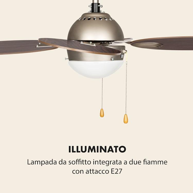 """Valderama ventilatore da soffitto 2 in 1 42"""" 60W lampadario palissandro Palissandro"""