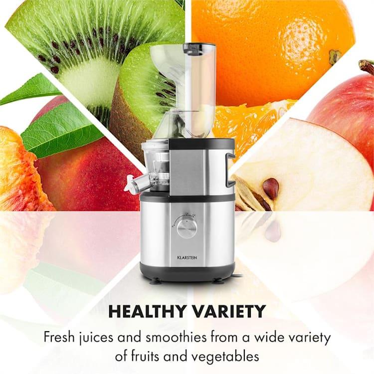 Fruitberry Slow Juicer 400W 60 T/min Vulbuis Ø8,5cm Roestvrij Staal zonder BPA Zilver