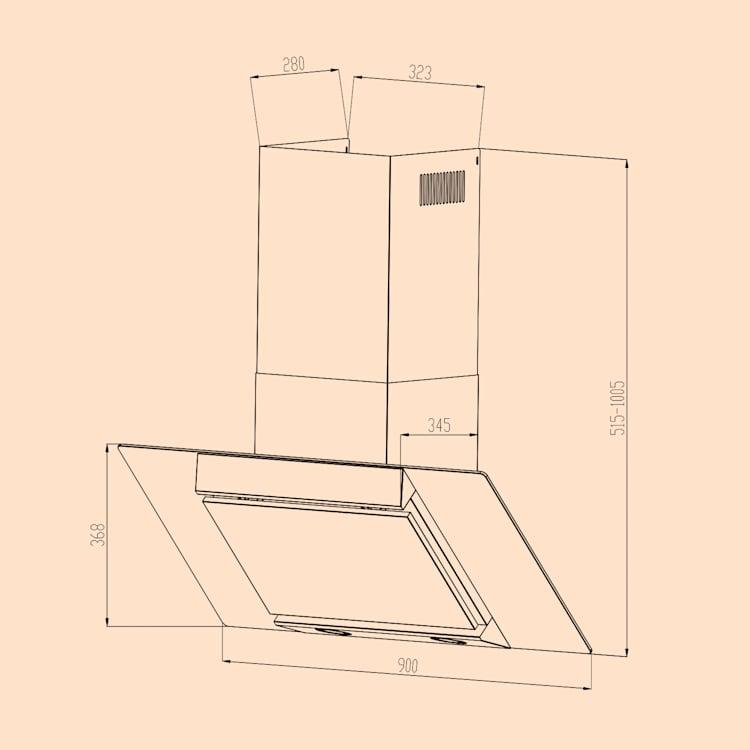 Klarstein Zola 90 Dunstabzugshaube 210 W 607m³/h 2-teiliger Kamin 304er Edelstahl Silber | 90 cm