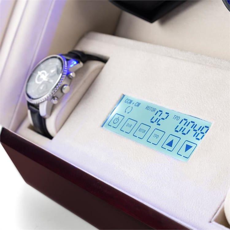 Klingenthal, naťahovač na hodinky, chod vľavo-vpravo, 12 hodiniek, LED, dotykový, mahagónový Mahagónová