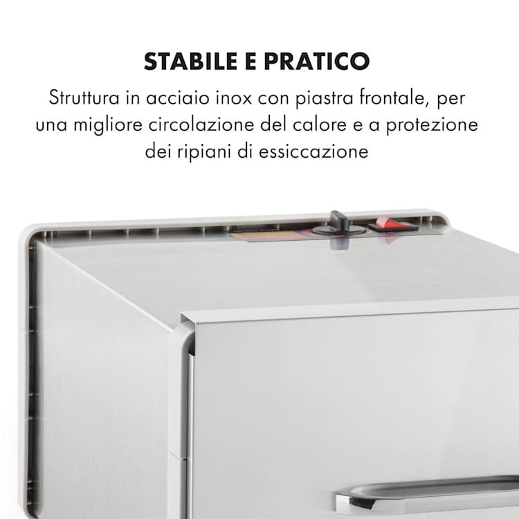 Fruit Jerky Steel 6 Essiccatore per Alimenti 630W 6 Piani Acciaio Inox 6 scomparti