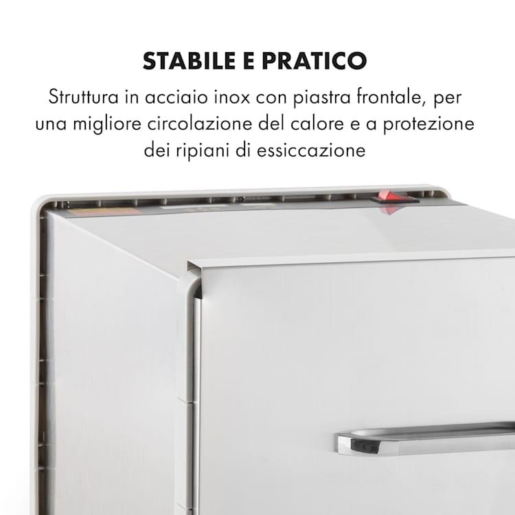 Fruit Jerky Steel 8 Essiccatore per Alimenti 630W 8 Piani Acciaio Inox 8 scomparti