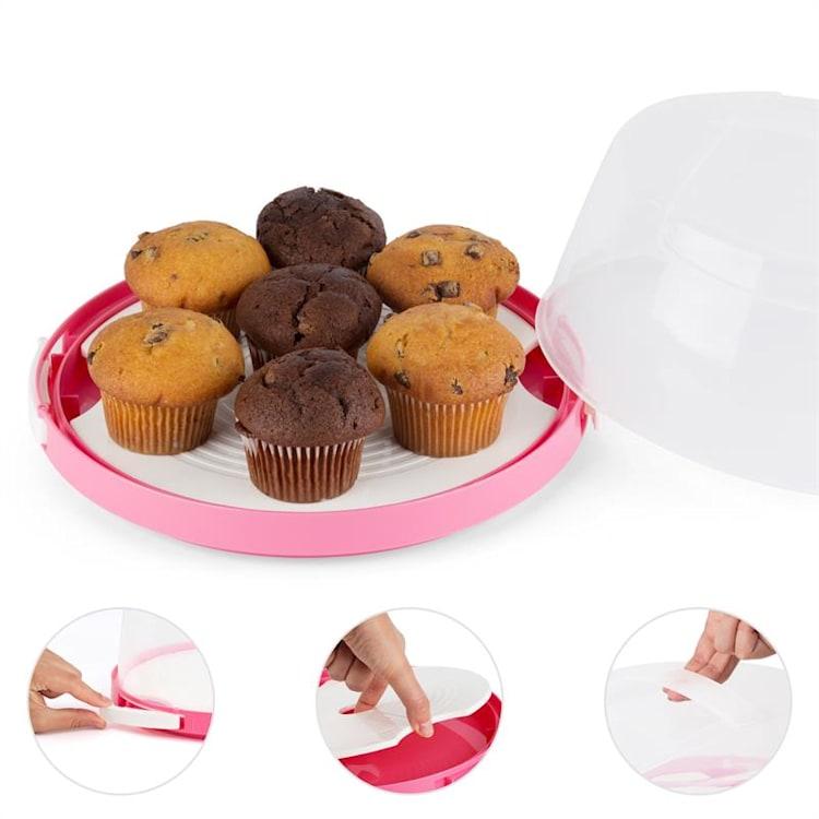 Boîte de transport à gâteaux cloche transparente cupcakes Ø26cm -rose