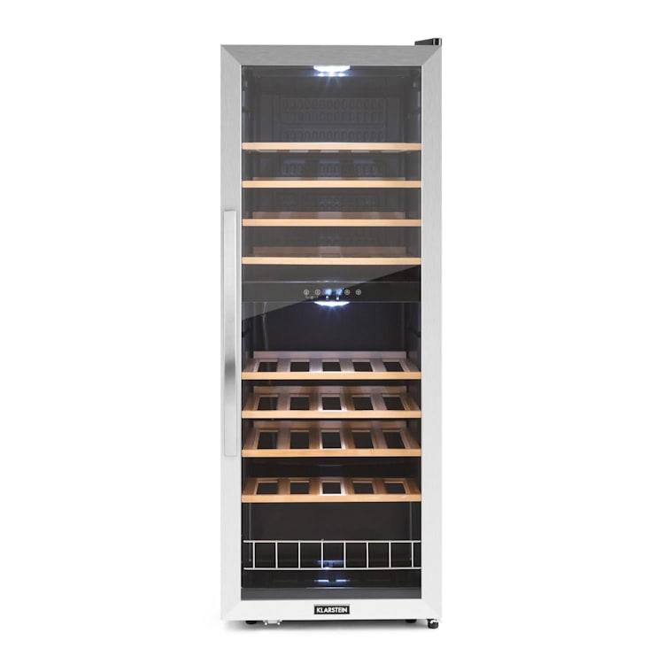 Vinamour 54D Weinkühlschrank 148L Edelstahlfront 54 Flaschen | 2 Kühlzonen