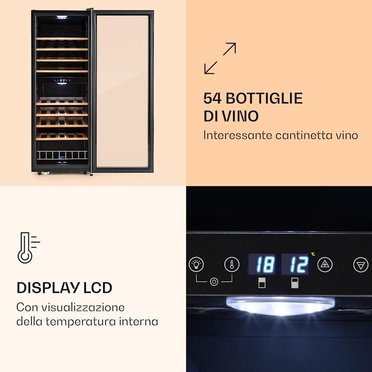 Vinamour 54 Duo - Frigorifero per vini, 2 zone, 148 litri, 54 bottiglie, display touch  54 bottiglie | 2 zone di raffreddamento
