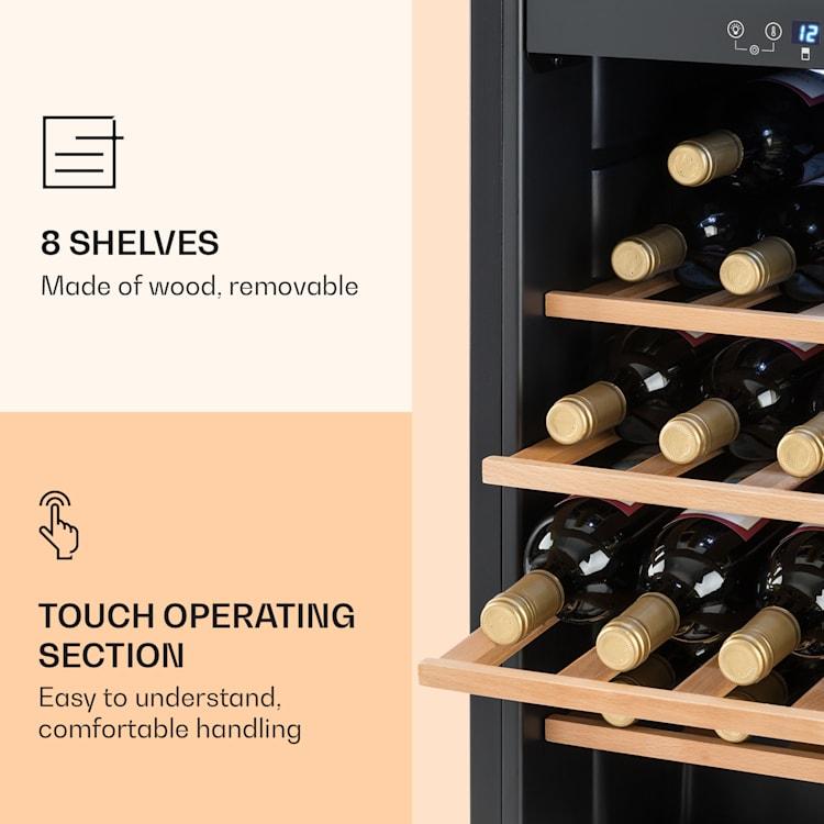 Vinamour 54 Duo cave à vin 2 zones 148 litres 54 bouteilles écran tactile 54 bouteilles | 2 zones de conservation