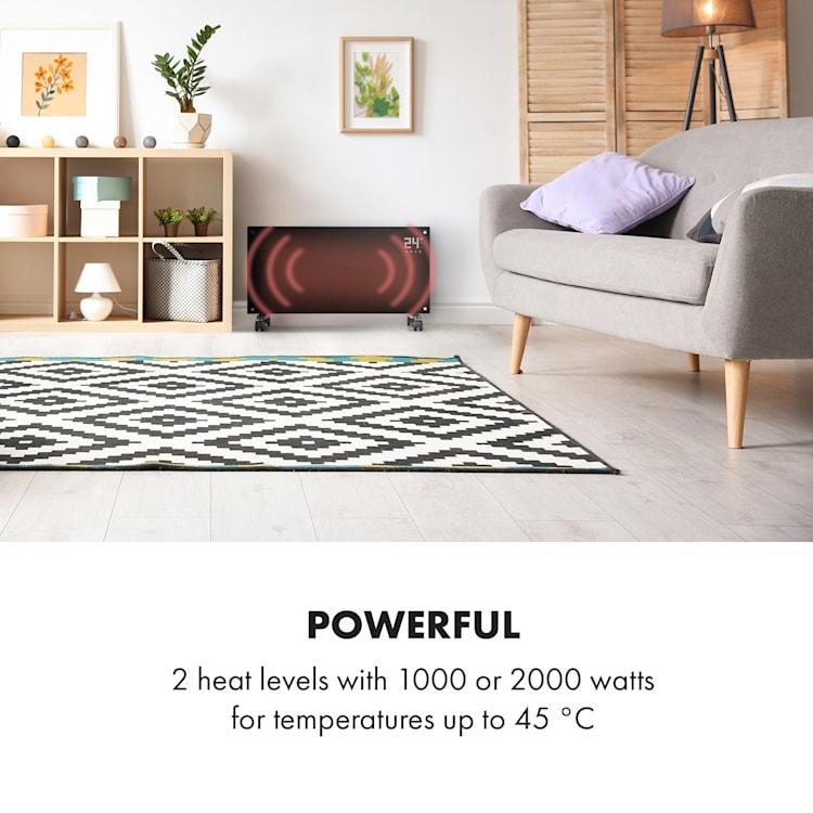 Bornholm, konvektor, 2 stupne ohrevu, 1000/2000 W, LED displej, časovač, 40 m², podstavec, čierny Čierna