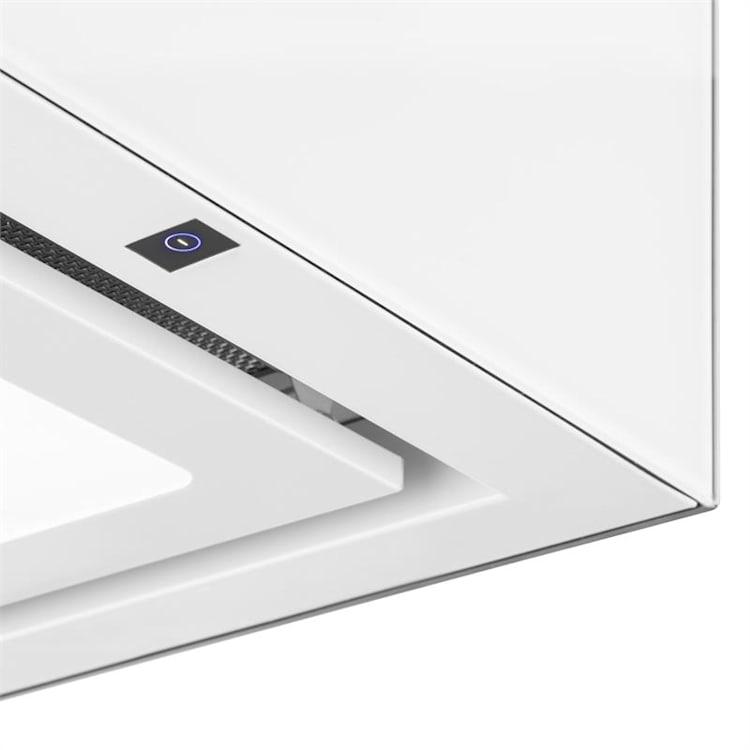Kronleuchter Dunstabzugshaube Deckenhaube LED Glas verspiegelt weiß Weiß