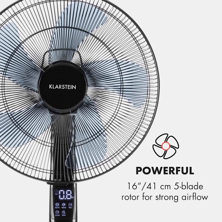 """SilentStorm ventilator 16 """"(41cm) rotor 5-blade 35W 80m³ bază rotundă , control de la distanță, negru Negru"""