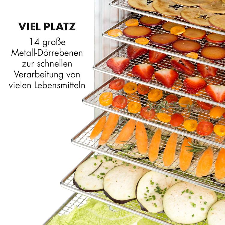 Fruit Jerky 14 Dörrautomat 1000W 14 Edelstahl-Etagen schwarz 14 Etagen