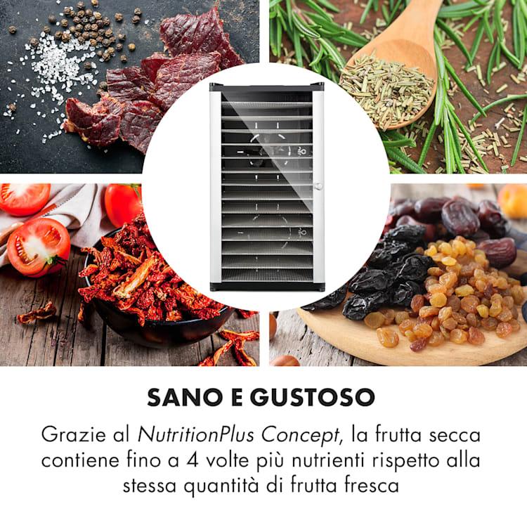 Fruit Jerky 14 Essiccatore 14 Livelli in Acciaio Inox nero 1000W 14 scomparti