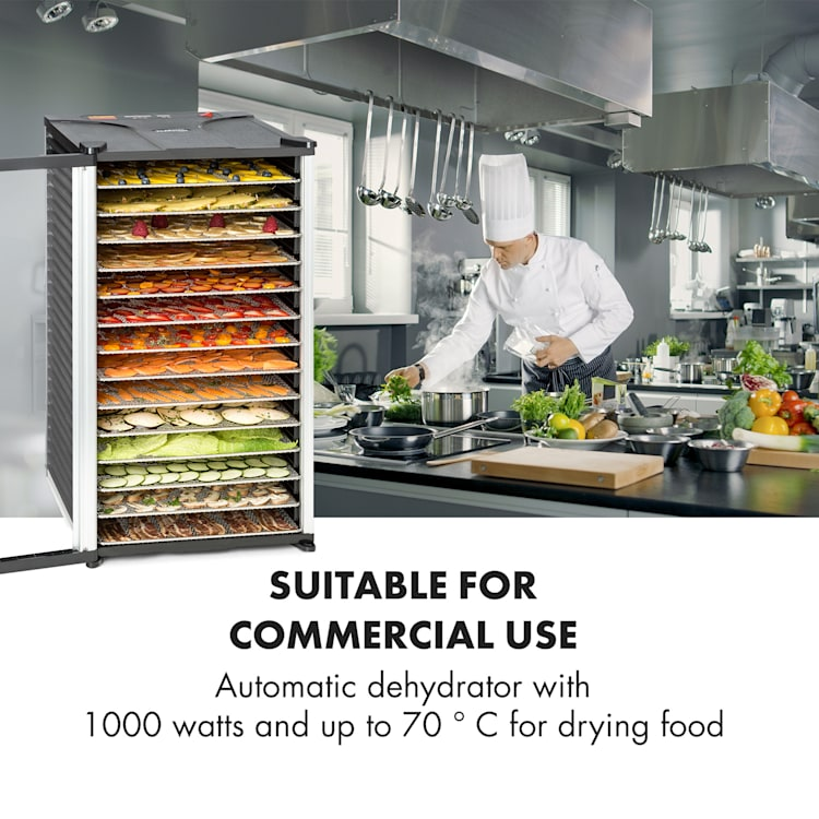 Fruit Jerky 14, crni, 1000 W, automat za sušenje, 14 katova od nehrđajućeg čelika 14 faza