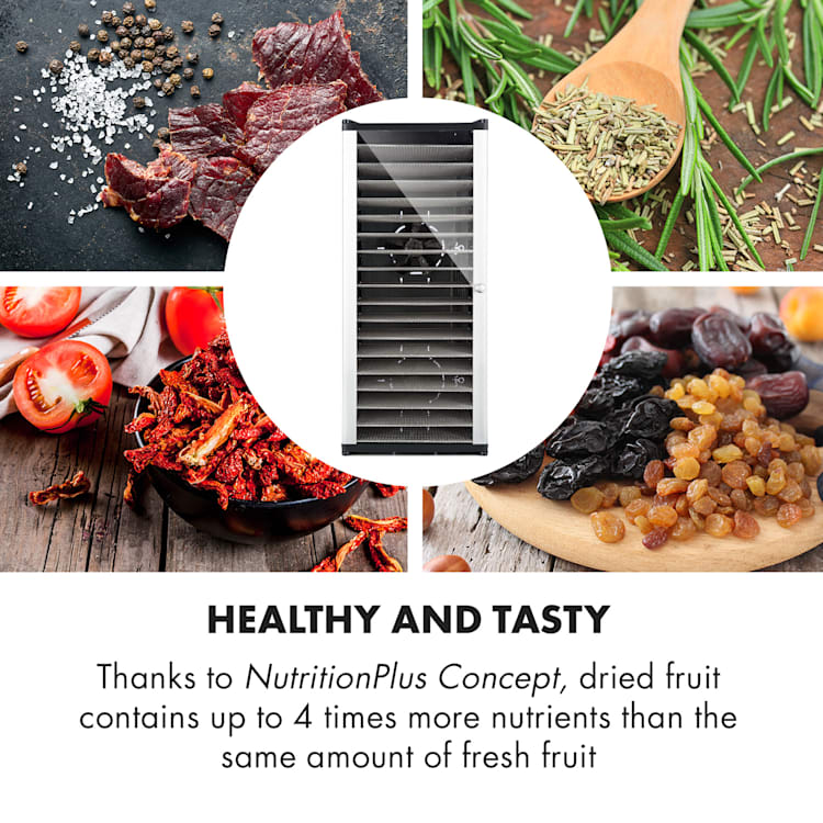 Fruit Jerky 18 voedseldroger 1000W 18 rvs etages zwart 18 stages