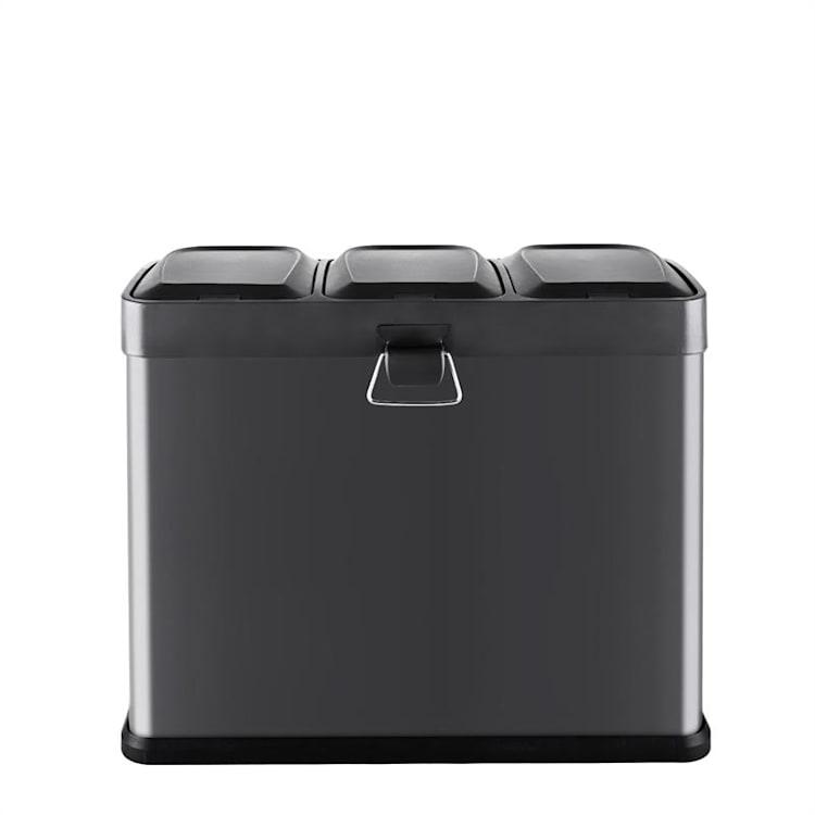 Ökosystem Mülleimer Treteimer Mülltrenner 45L (3x15 L) schwarz Schwarz