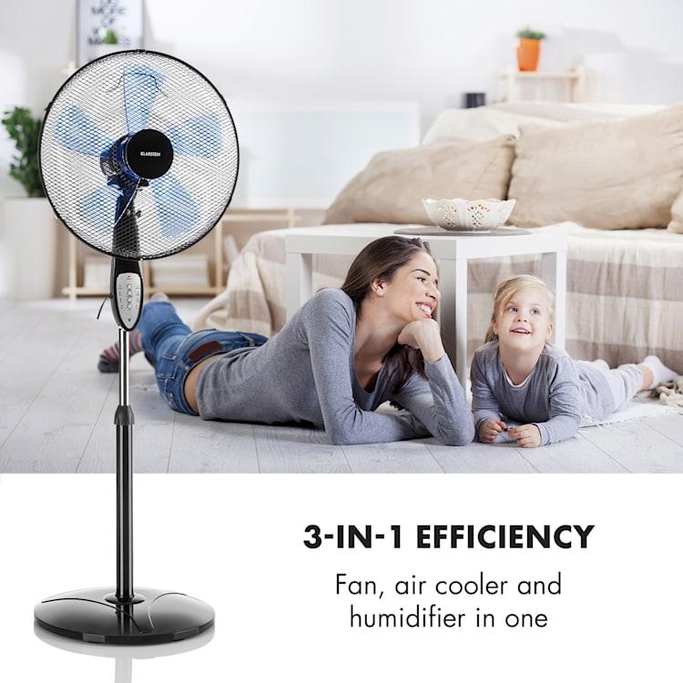 Summerjam, ventilator cu suport, negru, 41 cm, 50 W, 3 nivele de viteză, debitul de aer 69.18 m³ / min., inclusiv telecomandă Negru